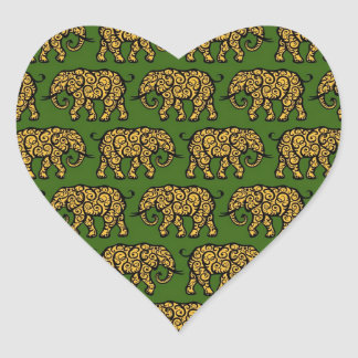 Yellow and Green Swirling Elephant Pattern Heart Sticker