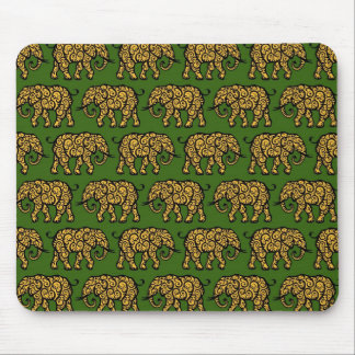 Yellow and Green Swirling Elephant Pattern Mouse Pad