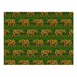 Yellow and Green Swirling Elephant Pattern Postcard