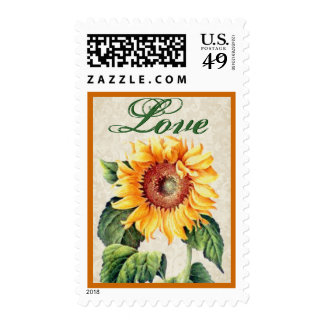 Yellow and Green Vintage Sunflower Love Postage Stamp