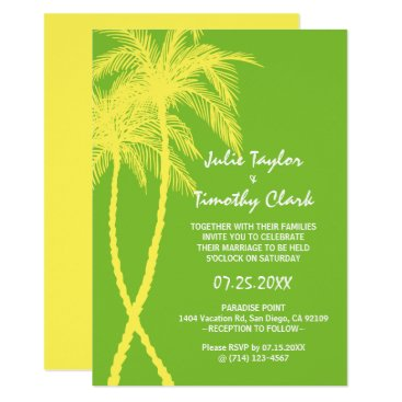 Beach Themed Yellow and Green Wedding Invitations