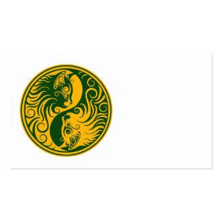 Yellow and Green Yin Yang Cats Business Card
