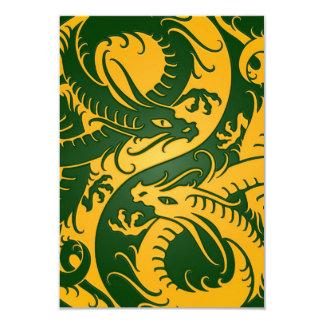 Yellow and Green Yin Yang Chinese Dragons Card