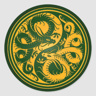 Yellow and Green Yin Yang Chinese Dragons Classic Round Sticker