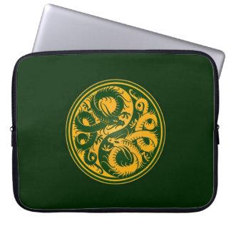 Yellow and Green Yin Yang Chinese Dragons Laptop Sleeves
