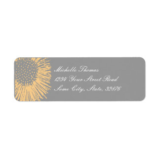 Yellow and Grey Abstract Floral Return Address Return Address Label