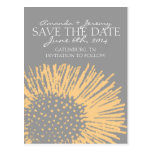 Yellow and Grey Abstract Floral Save the Date Postcards