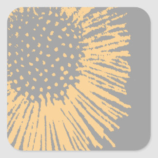 Yellow and Grey Abstract Floral Square Sticker
