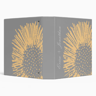 Yellow and Grey Abstract Floral Wedding Organizer 3 Ring Binder