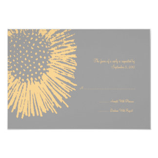Yellow and Grey Abstract Floral Wedding RSVP Card