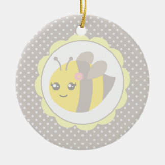 Yellow and Grey Baby Bee Ceramic Ornament