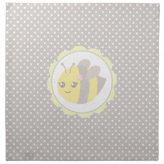 Yellow and Grey Baby Bee Cloth Napkins