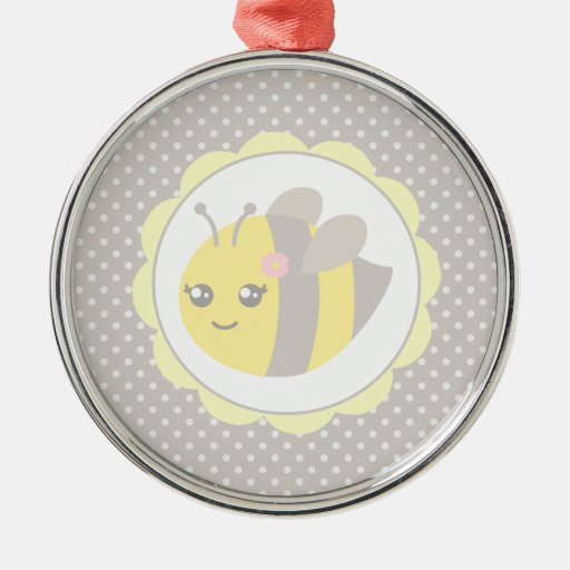 Yellow and Grey Baby Bee Round Metal Christmas Ornament