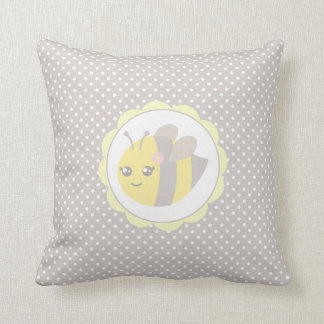 Yellow and Grey Baby Bee Throw Pillow