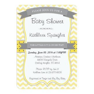 Yellow and Grey Baby Shower Invitation