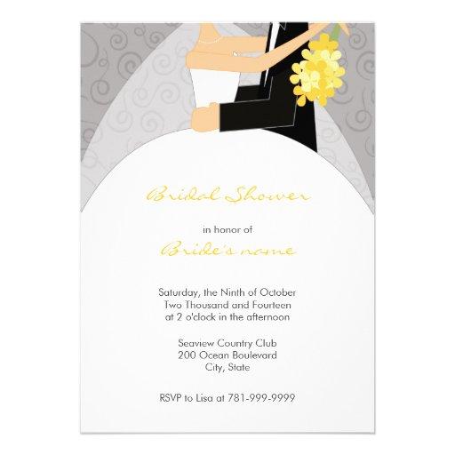 Bridal shower invitations bridal shower invitations grey for Yellow bridal shower invitations