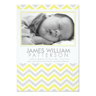 Yellow and Grey Chevron Baby Birth Announcement