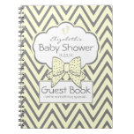 Yellow and Grey Chevron- Baby Shower Guest Book- Notebooks
