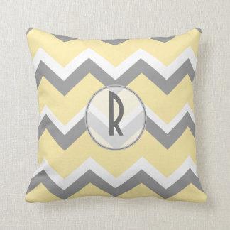 Yellow and Grey Chevron Monogram Pillows