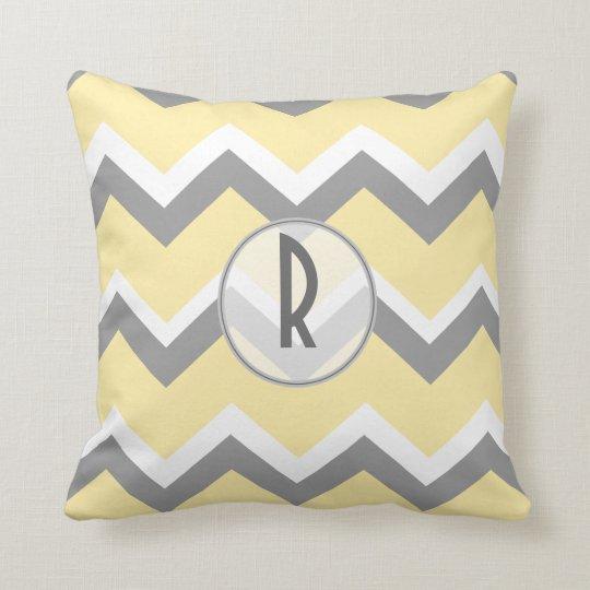 Yellow and Grey Chevron Monogram Throw Pillow