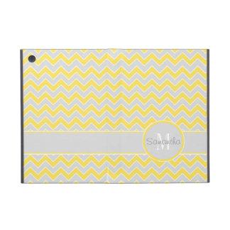 Yellow and Grey Chevron Pattern Custom Monogram Cases For iPad Mini