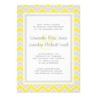 Yellow and Grey Chevron Pattern Wedding Invitation