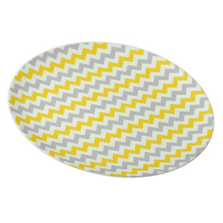 Yellow and Grey Chevron Party Plate