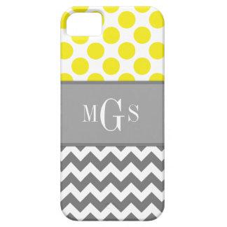 Yellow and Grey, Chevron, Polka Dots iphone 5 Case