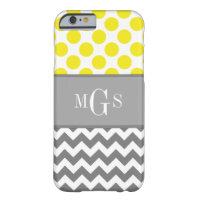 Yellow and Grey, Chevron, Polka Dots iPhone 6 case