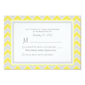 Yellow and Grey Chevron Wedding RSVP Custom Card