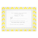 Yellow and Grey Chevron Wedding RSVP Custom Personalized Invitation