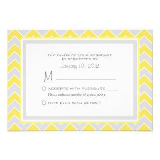 Yellow and Grey Chevron Wedding RSVP Custom Personalized Invitation