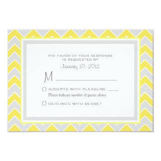 Yellow and Grey Chevron Wedding RSVP Custom 3.5x5 Paper Invitation Card