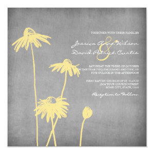 Yellow and Grey Chic Flower Wedding Invitation