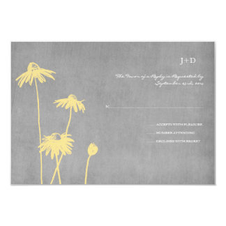Yellow and Grey Chic Flower Wedding RSVP Announcement