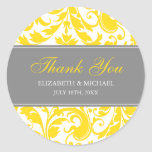 Yellow and Grey Damask Swirls Wedding Thank You Classic Round Sticker