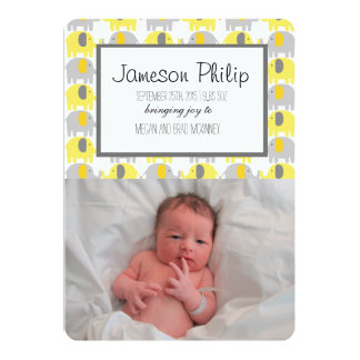 Yellow and Grey Elephant Baby Announcement