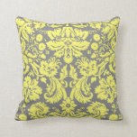 Yellow and Grey Fancy Damask One Sided Throw Pillow