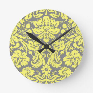 Yellow and Grey Fancy Damask Patterned Clock
