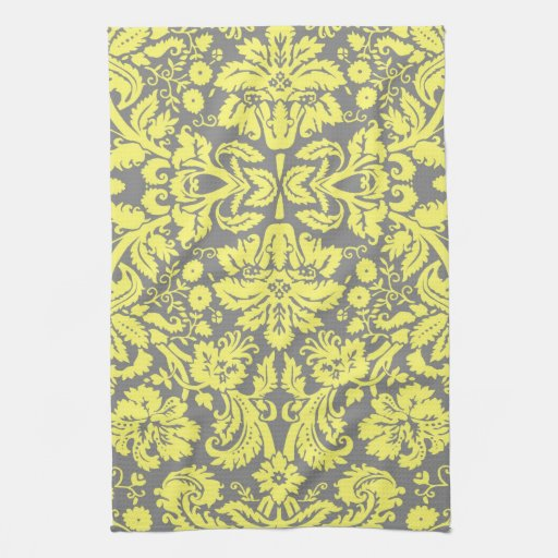 yellow and grey fancy damask patterned towels zazzle. Black Bedroom Furniture Sets. Home Design Ideas