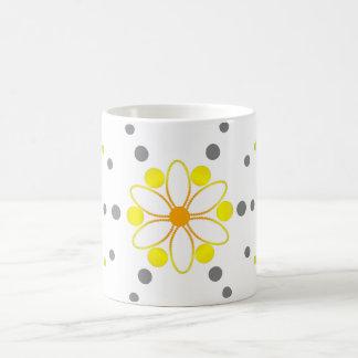 Yellow and grey flowery beads coffee mug