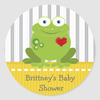 Yellow and Grey Frog Baby Shower Sticker