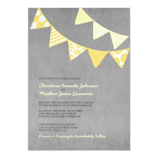 Yellow and Grey Fun Flags Wedding Invitations