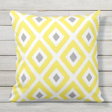 Aztec Themed Yellow and Grey Ikat Diamond Pattern Throw Pillow