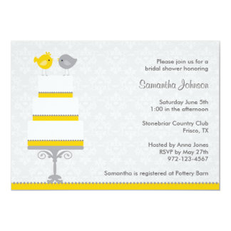Yellow and Grey Love Birds Bridal Shower Invitatio Card