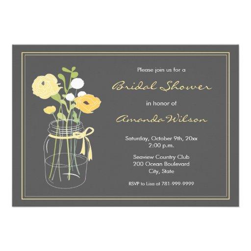 Yellow and grey mason jar bridal shower invitation 5 x 7 for Yellow bridal shower invitations