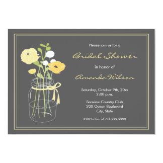 "Yellow and Grey Mason Jar Bridal Shower Invitation 5"" X 7"" Invitation Card"