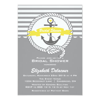 "Yellow and Grey Nautical Bridal Shower Invitation 5"" X 7"" Invitation Card"
