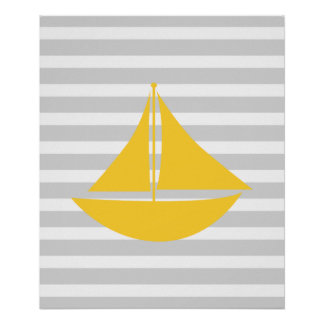 Yellow and Grey Nautical Ship Poster