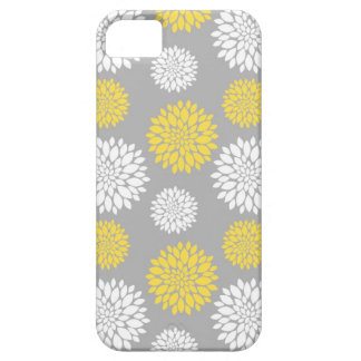 Yellow and Grey Peony Floral Pattern iPhone SE/5/5s Case
